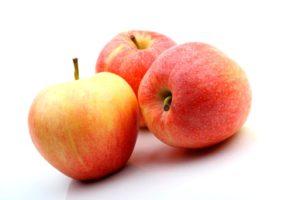 three apple isolated on white background